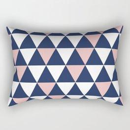Triangular: Pink, Navy Blue, and White Minimalist Geometric Pattern Rectangular Pillow