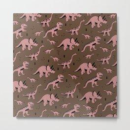 Cool girls dino love ceatures dinosaurs illustration pattern Metal Print