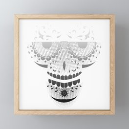 Sugar Skull - Day of the dead bw Framed Mini Art Print