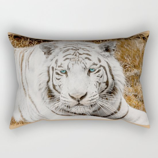 WHITE TIGER GAZE Rectangular Pillow
