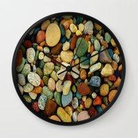 michigan Wall Clocks featuring Michigan Rocks1 by Michelle Silsbee