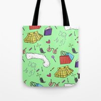 clueless Tote Bags featuring Clueless (Holy Trinity Print #2) by Sarah Nolan