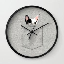 Pocket French Bulldog - Pied Wall Clock