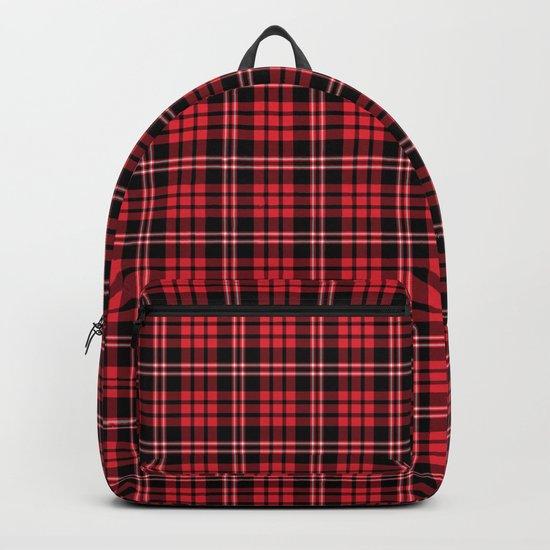 Red & Black Tartan Plaid Pattern Backpack
