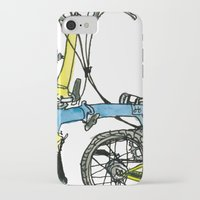 brompton iPhone & iPod Cases featuring My brompton standing up by Swasky