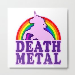 Death Metal Unicorn Metal Print