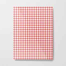 Small Diamonds - White and Pastel Red Metal Print
