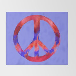Patriotic Peace Sign Tie Dye Watercolor on Blue Throw Blanket