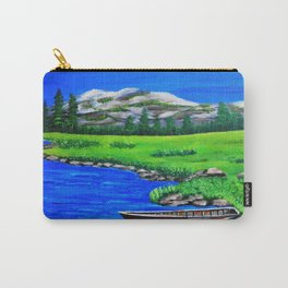 River bank with little old boat Carry-All Pouch