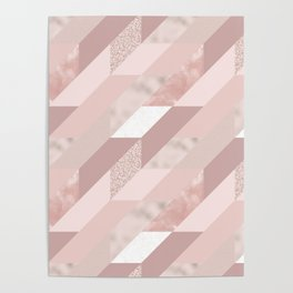 Rose Gold and Mauve Tiles Poster