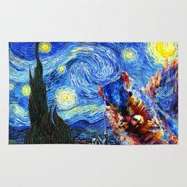 Starry Night Squirrel Photo Bomb Pop Art Rug