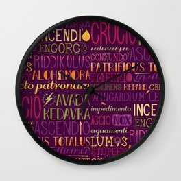 Standard Poster of Spells Wall Clock