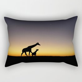 African Sunset Giraffe Silhouettes Rectangular Pillow