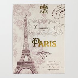 Paris Eiffel Tower French Script Blush Pink Montage Poster