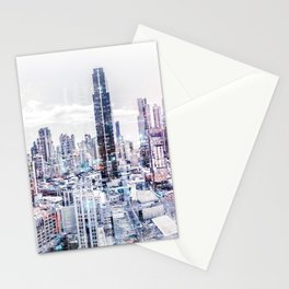 city skyline aerial abstract cityscape modern city background Stationery Cards