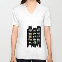building V-neck T-shirts featuring Building by Mirko Dessureault