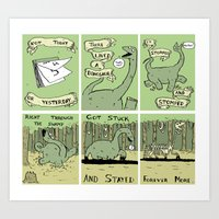 poem Art Prints featuring Dinosaur Poem by MadeleineFlores