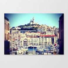MARSEILLE Vieux Port and Cathedral view Canvas Print