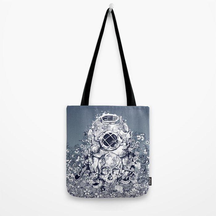 vintage floral skull 3 Tote Bag