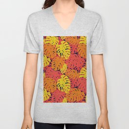 Modern tropical summer yellow orange red cheese leaves floral Unisex V-Neck