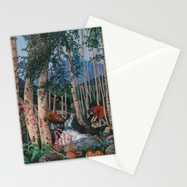 Floxgloves and White Birch amid the Stream landscape by Nikolai Astrup Stationery Cards