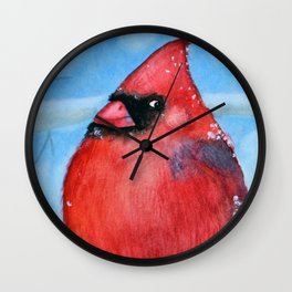 Fat northern cardinal Wall Clock