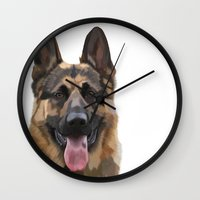 german shepherd Wall Clocks featuring German Shepherd by Just Like A Breeze