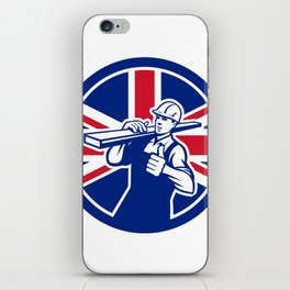 British Lumberyard Worker Union Jack Flag Icon iPhone Skin
