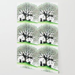 Borders Whimsical Cats in Tree Wallpaper
