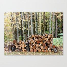 Fall Woodpile Canvas Print