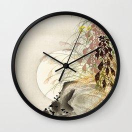 Full Moon Behind Grass - Japanese Vintage Woodblock Print Wall Clock
