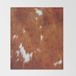 Tan Cowhide Smooth Texture Throw Blanket