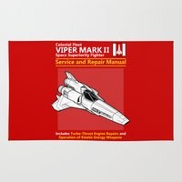 battlestar galactica Area & Throw Rugs featuring Viper Mark II Service and Repair Manual by adho1982