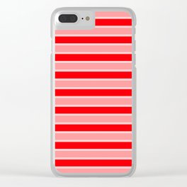 Large Horizontal Christmas Holiday Red Velvet and White Bed Stripe Clear iPhone Case