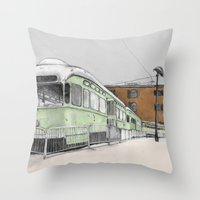 hook Throw Pillows featuring Red Hook by Lane Scarano
