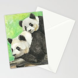 Mama and Baby Panda Stationery Cards