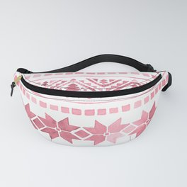 White & Red Nordic Pattern  Fanny Pack