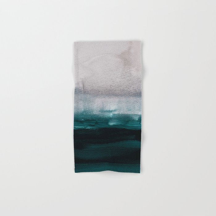 Pale Pink Over Dark Teal Hand Bath Towel