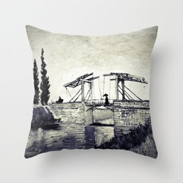 Vincent Van Gogh - Drawbridge at Arles 2 (Vintage) Throw Pillow
