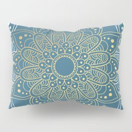 GOLDEN MANDALA ON BLUE Pillow Sham
