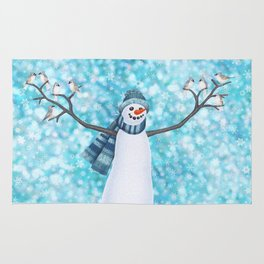 snowman and tufted titmouse flock Rug