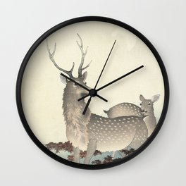 Deer by Ohara Koson Wall Clock