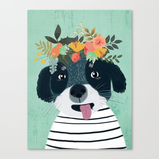 PUPPY DOGS WITH FLOWERS Canvas Print