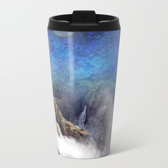 Wild waterfall in abstract Metal Travel Mug