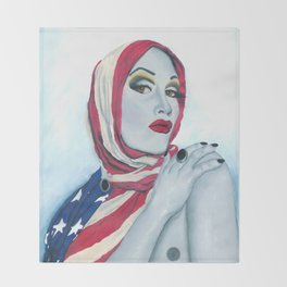 American Ladyboy Throw Blanket