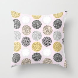 Yellow, White, Gray, Pink and Black Circle Print Throw Pillow