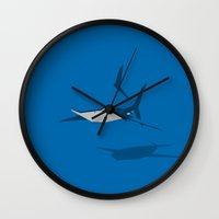 shark Wall Clocks featuring Shark by Mr. Peruca