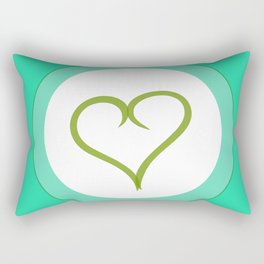 Green Heart with Love Rectangular Pillow