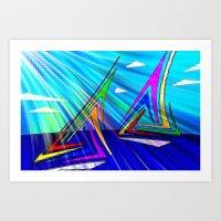 sail Art Prints featuring SAIL. by capricorn