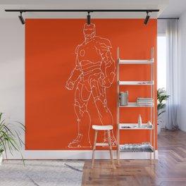 Iron man red orange background Wall Mural